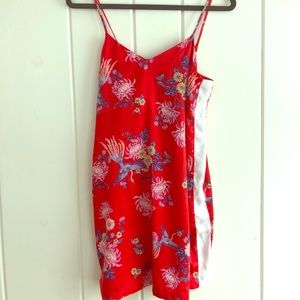 Red Floral Print Silky Dress